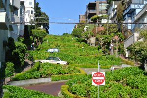 Lombard Street from the bottom of the hill
