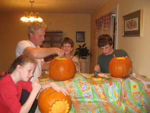 Family time spent carving pumpkins on a day that wasn't a Saturday- about 2,555 days ago!